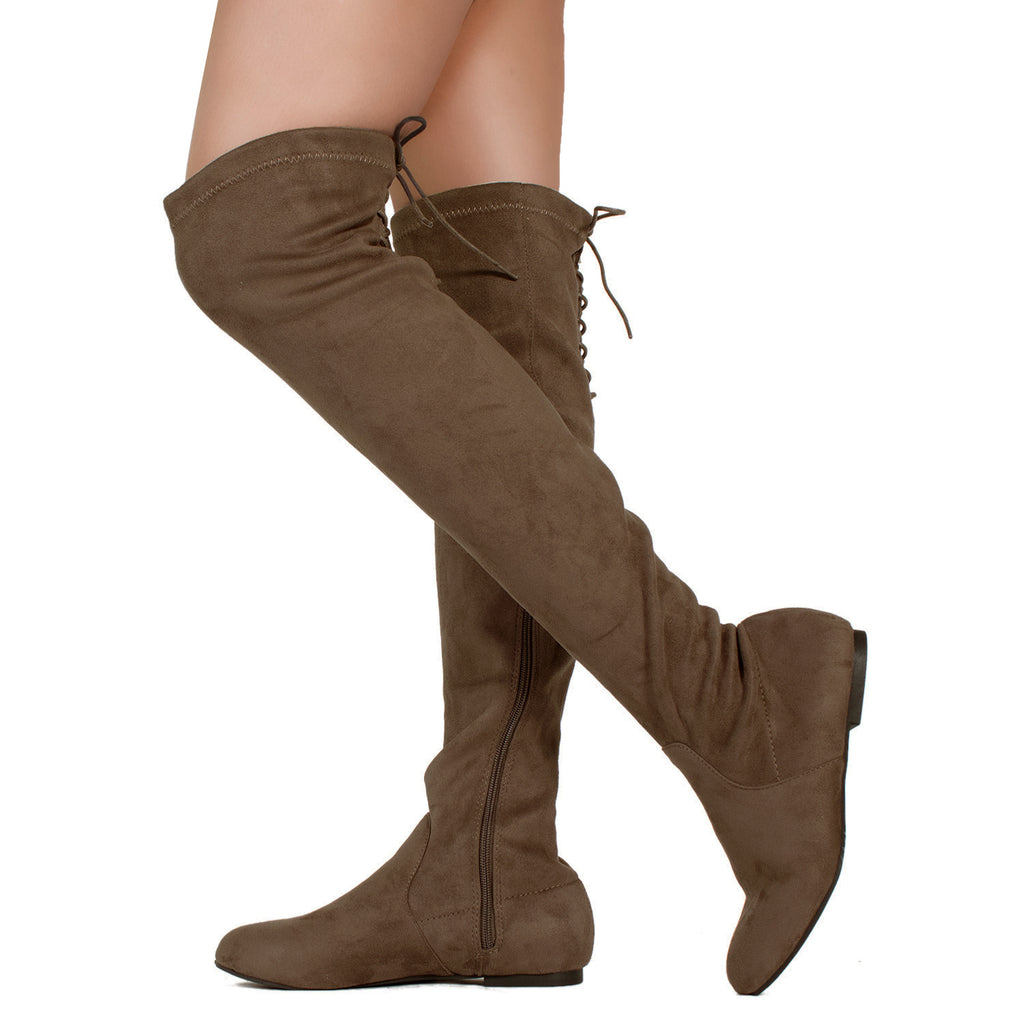 Fashion Comfy Vegan Suede Side Zipper Over The Knee Boots TAUPE