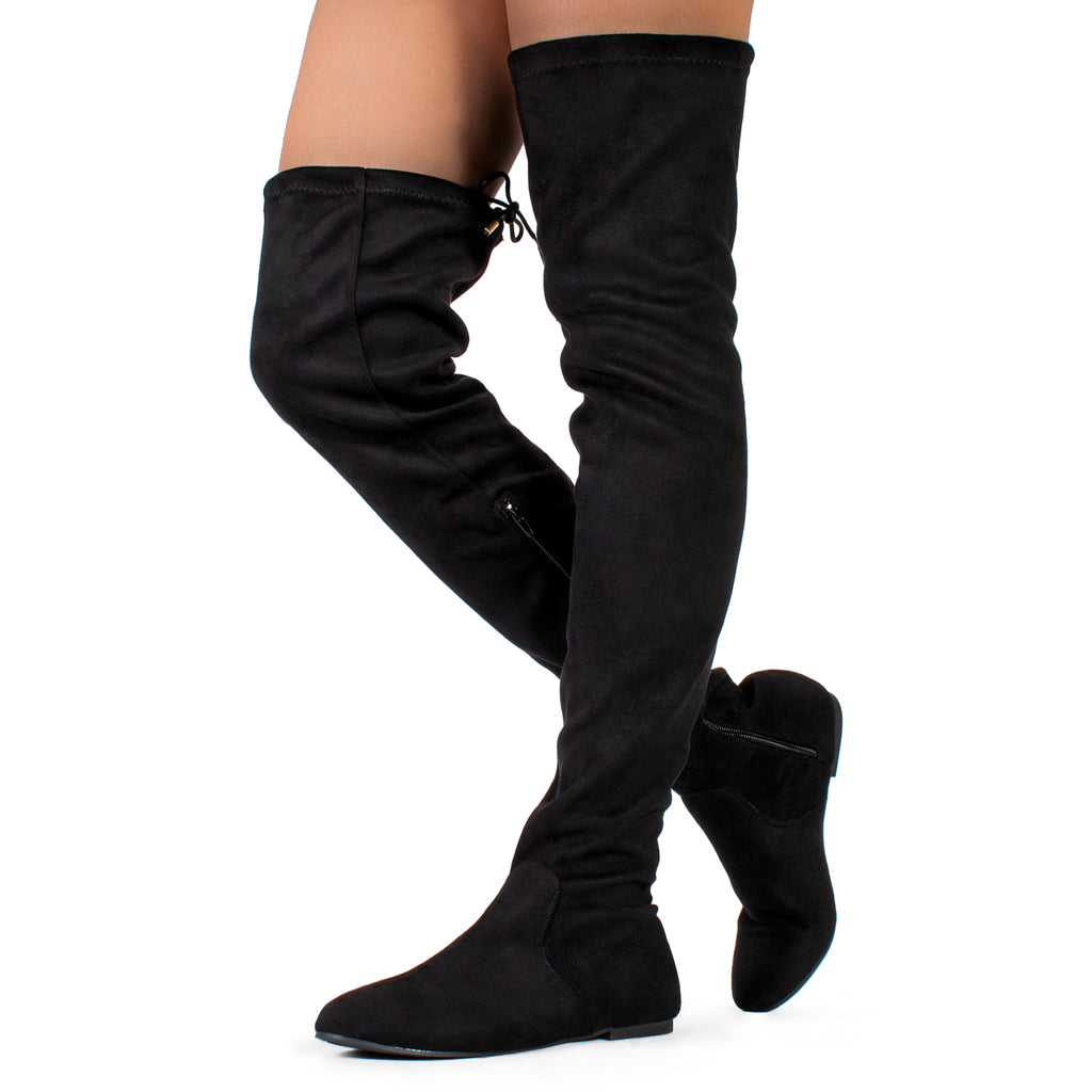 """Medium Calf"" Faux Suede Fitted Over The Knee High Boots BLACK"