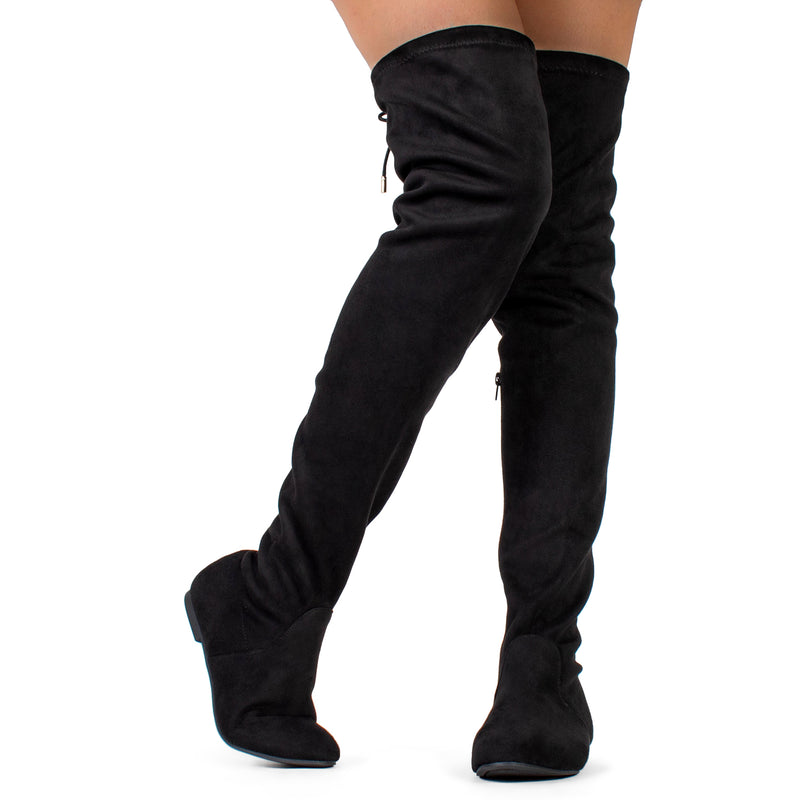 Women Fashion Comfy Vegan Suede Side Zipper Over The Knee Boots BLACK SUEDE