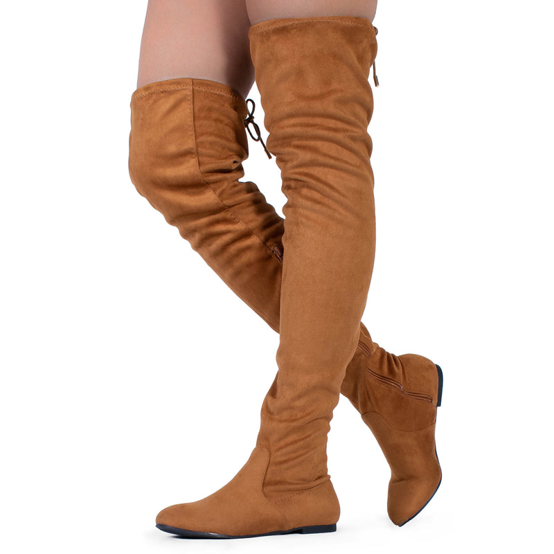 Women Fashion Comfy Vegan Suede Side Zipper Over The Knee Boots CAMEL SUEDE