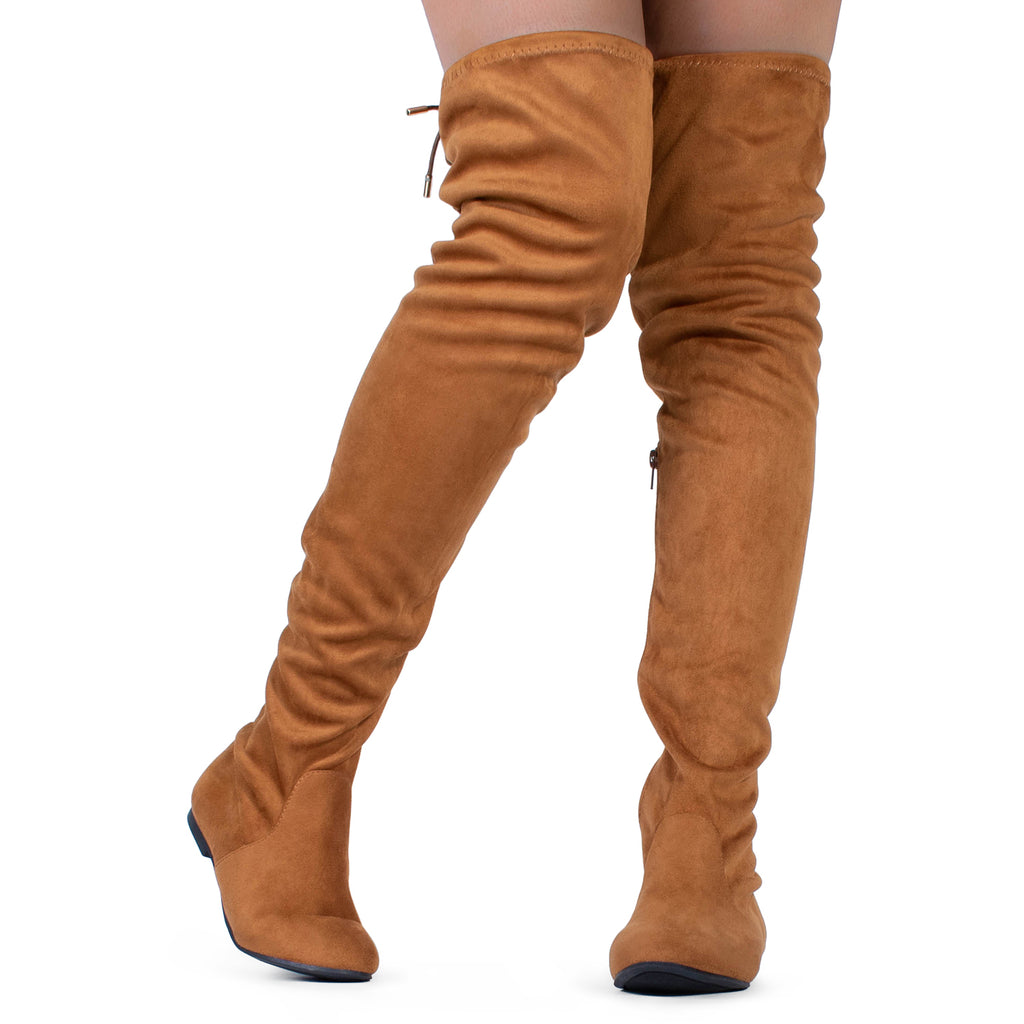"""Medium Calf"" Faux Suede Fitted Over The Knee High Boots CAMEL"