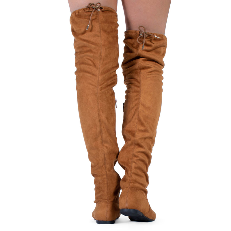 """Medium Calf"" Faux Suede Fitted Flat to Low Heel Over The Knee High Boots CAMEL"