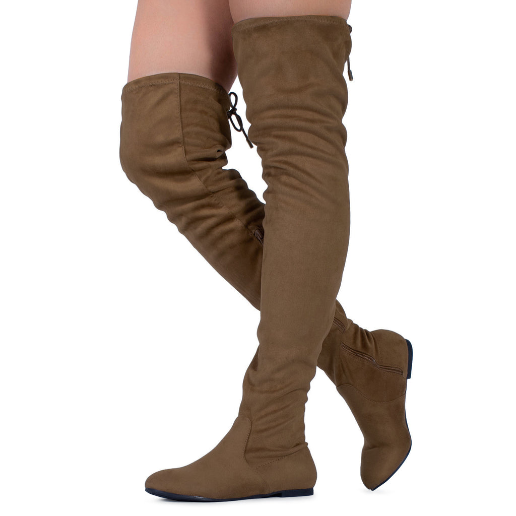 Women Fashion Comfy Vegan Suede Side Zipper Over The Knee Boots TAUPE SUEDE