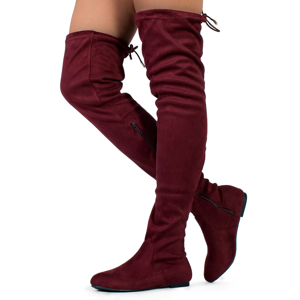 Women Fashion Comfy Vegan Suede Side Zipper Over The Knee Boots BURGUNDY SUEDE