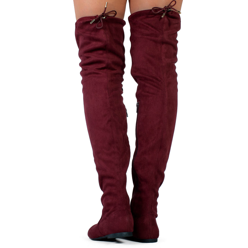 """Medium Calf"" Faux Suede Fitted Over The Knee High Boots BURGUNDY"
