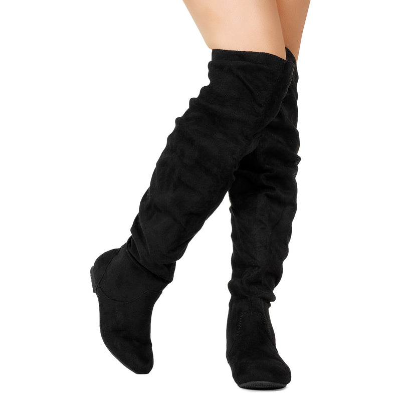 Women's Stretchy Thigh High Boot BLACK SU