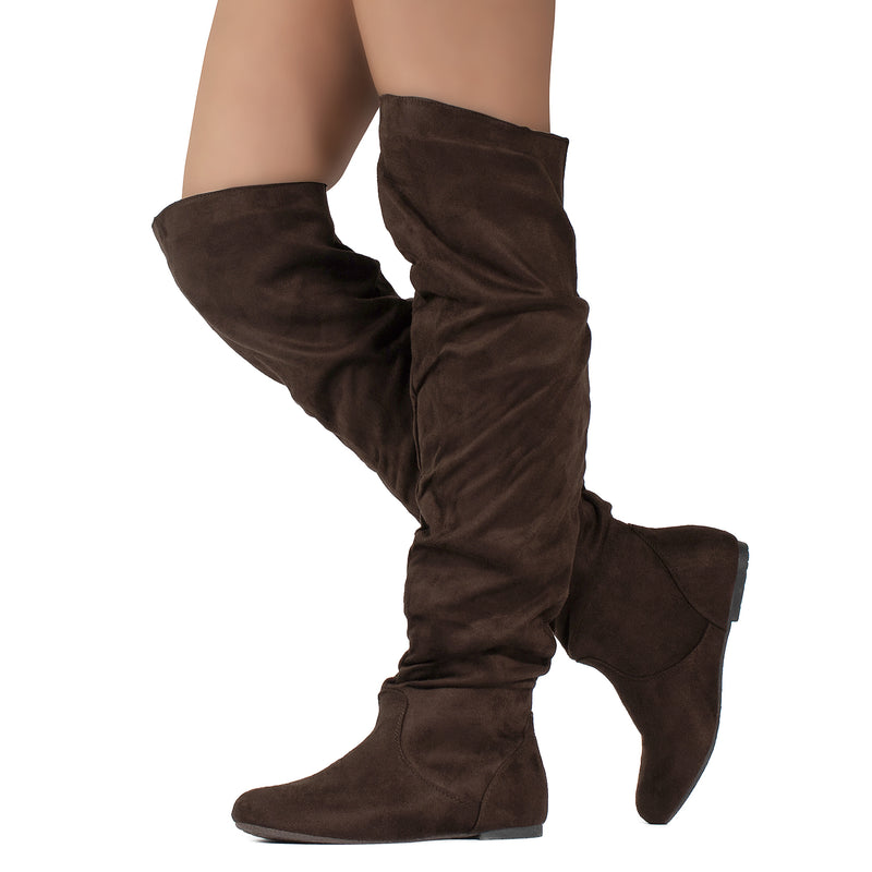 Women's Stretchy Thigh High Boot BROWN SU