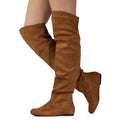Trend-Hi Slouchy Shaft Low Heel Over-the-Knee Flat Boots in Camel SU