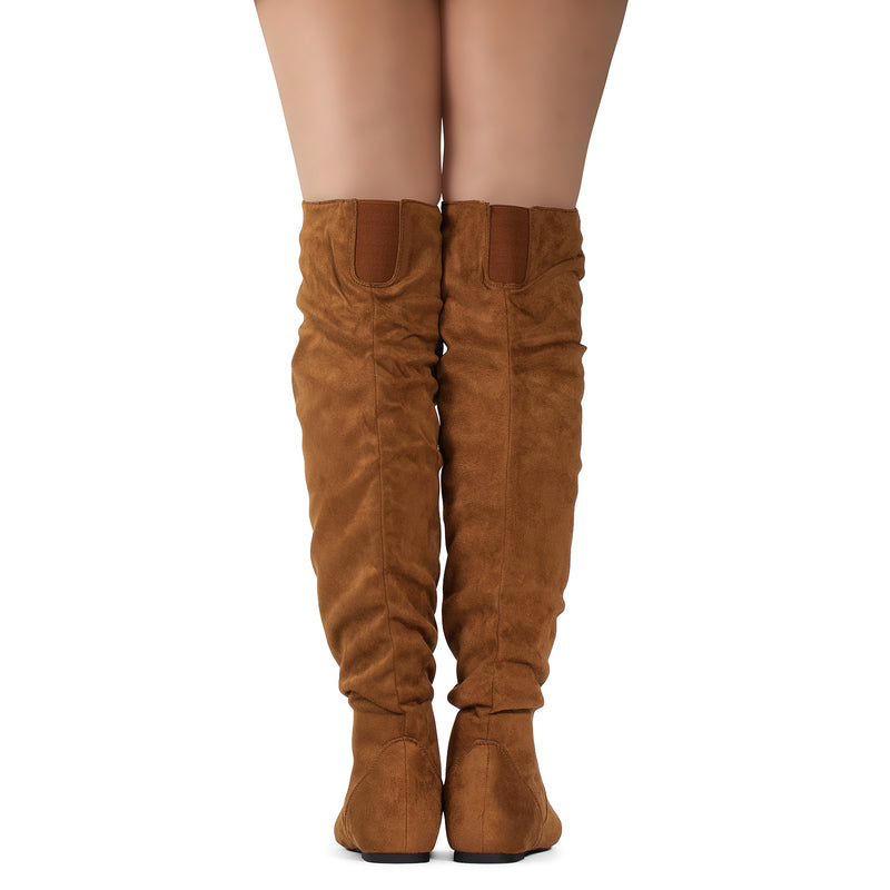 Women's Stretchy Thigh High Boot CAMEL SU