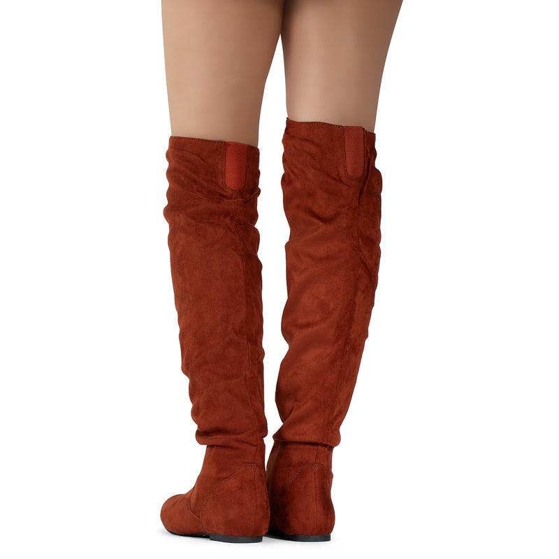 Women's Stretchy Thigh High Boot RUST SU
