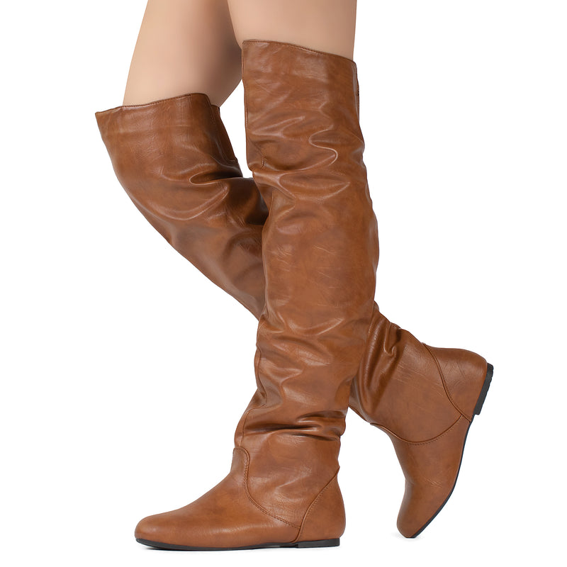 Women's Stretchy Thigh High Boot TAN PU