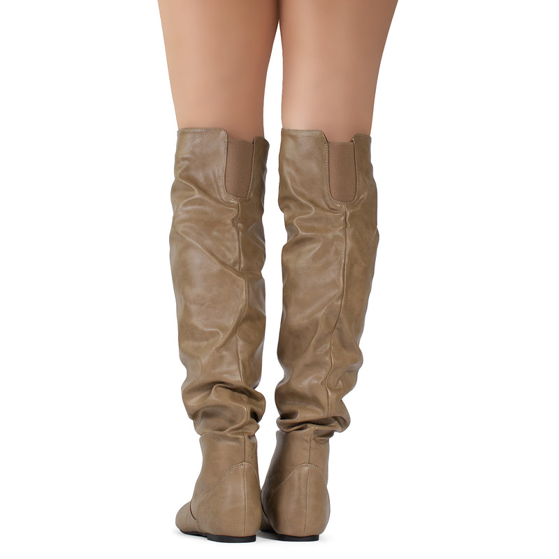 Trend-Hi Slouchy Shaft Low Heel Over-the-Knee Flat Boots in Taupe PU