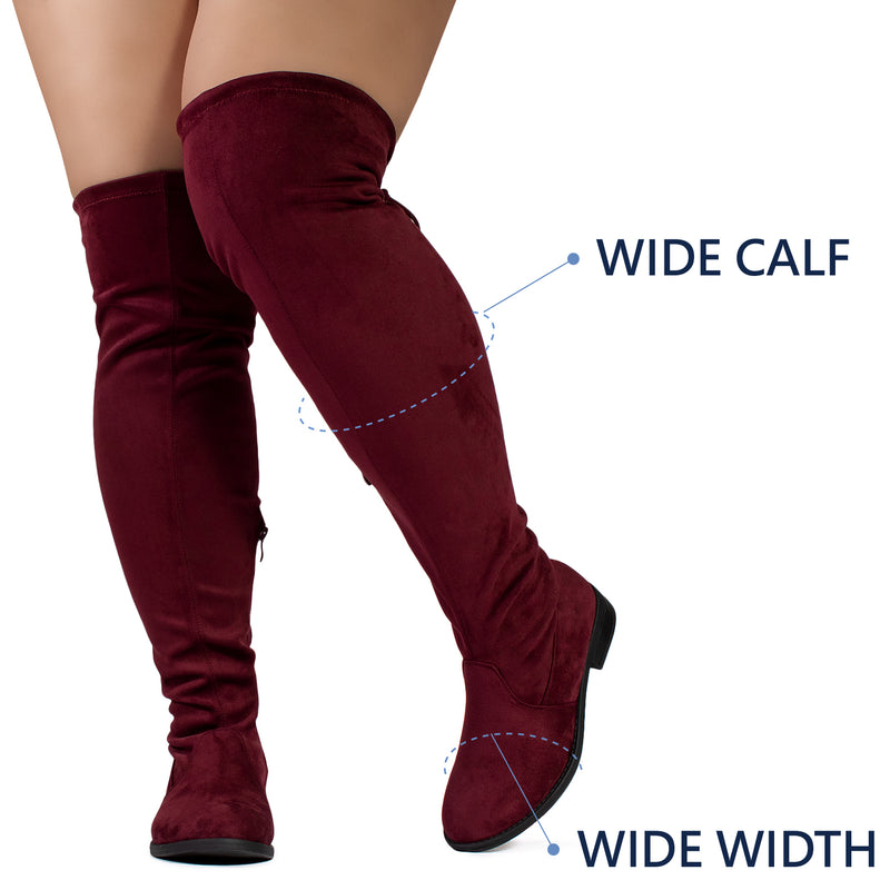 """Wide Calf & Width"" Stretchy Over The Knee Sock Boots BURGUNDY"