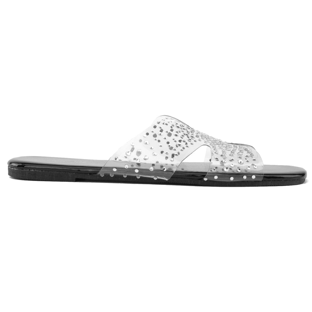 Women's Transparent Clear Metallic Sole Sandals BLACK