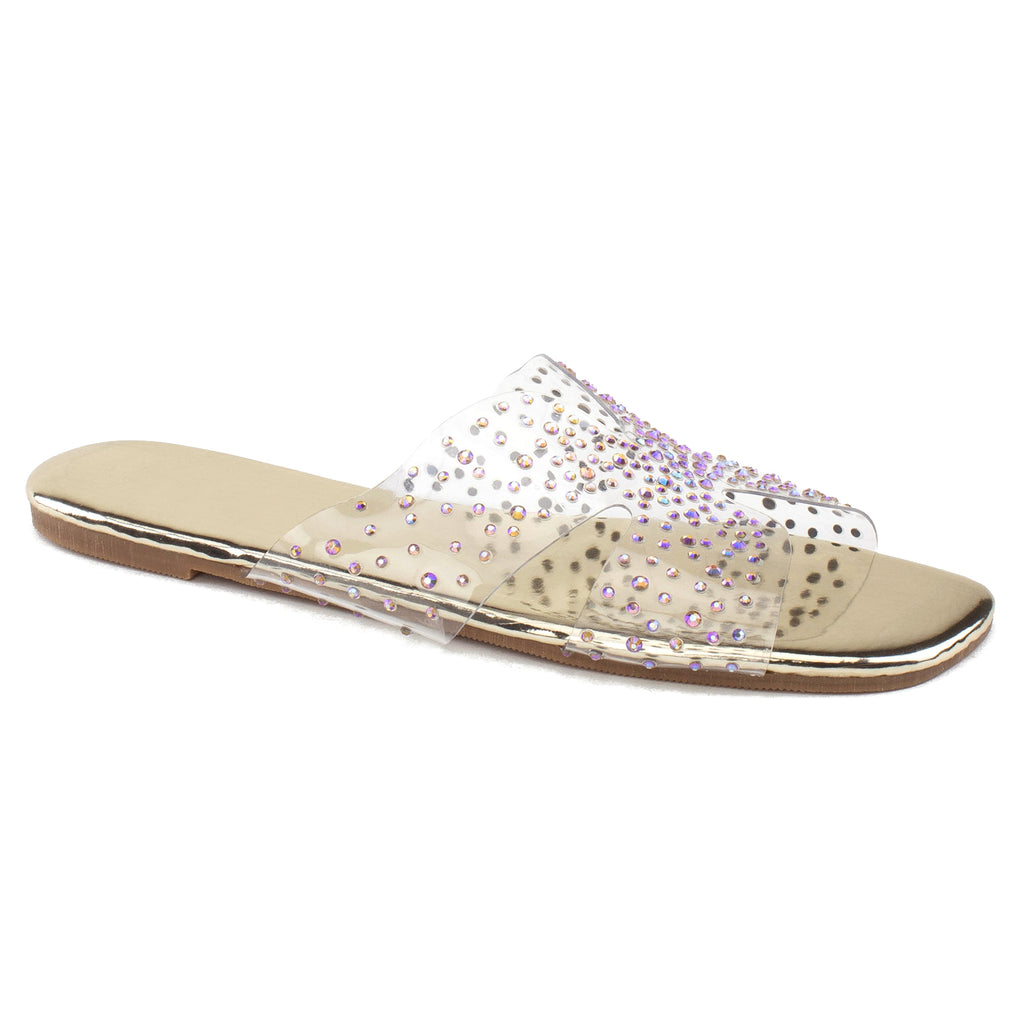 Women's Transparent Clear Metallic Sole Sandals GOLD