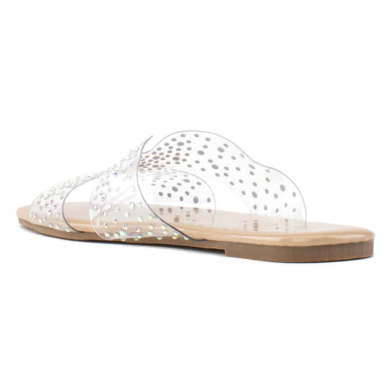 Women's Transparent Clear Metallic Sole Sandals NUDE