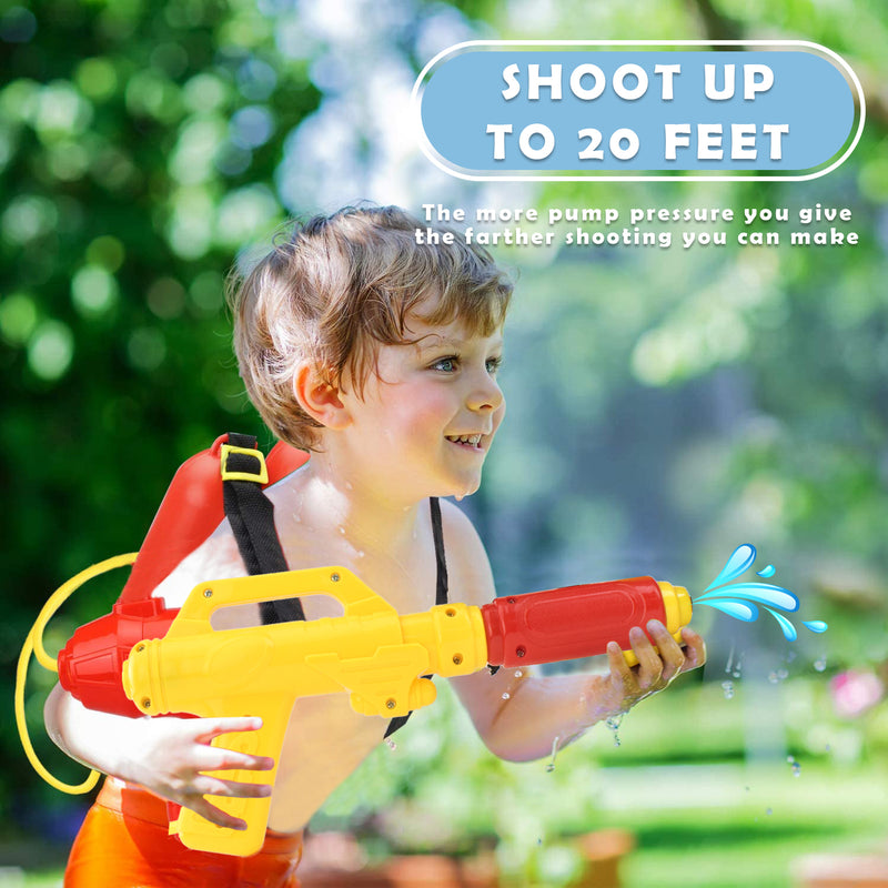 Firefighter 1300ML Water Shooter Gun and Blaster with Backpack Tank - Squirt Gun Backyard Pool Beach Toy and Outdoor Sports Toy