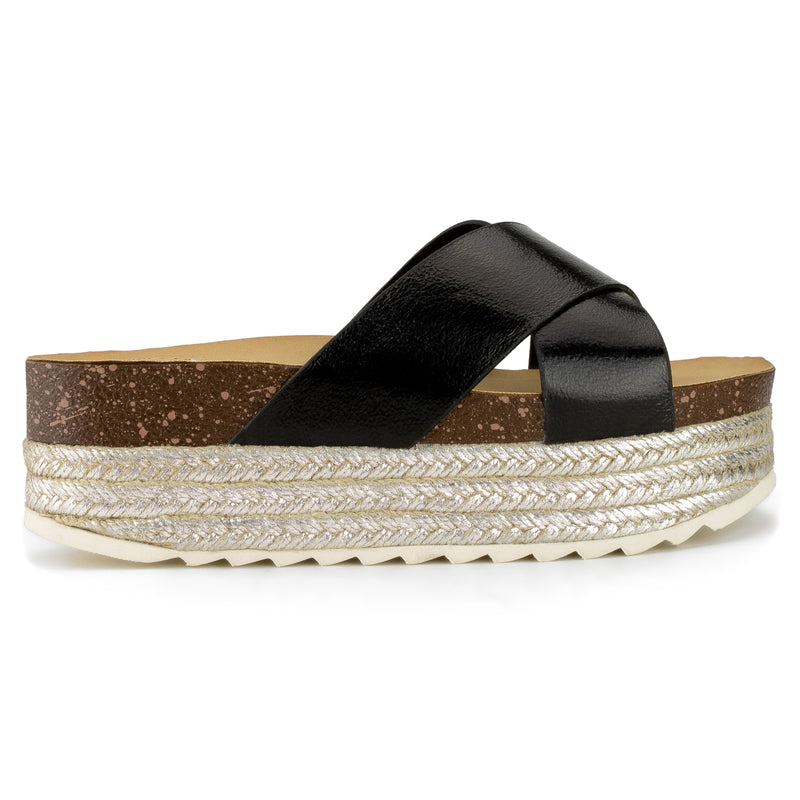 ROF WIDE FIT Criss Cross Espadrille Slip On Slide Mule Sandals in Black Metallic