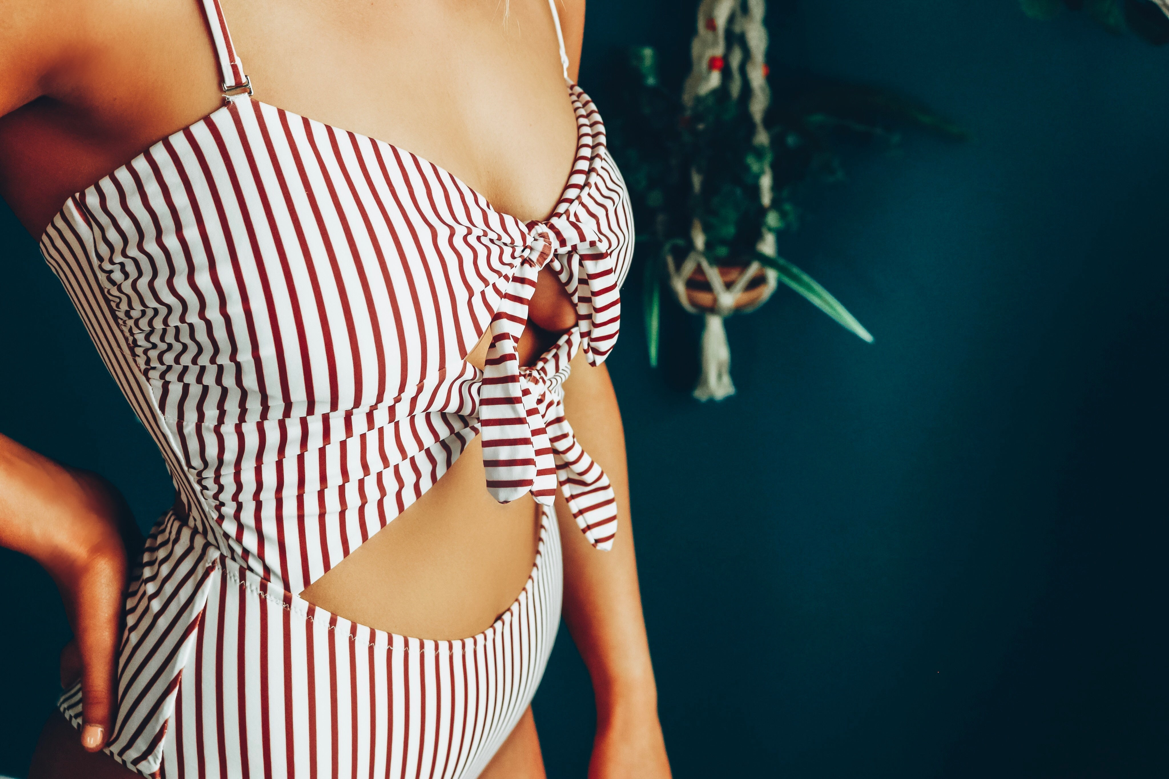 Burgundy Stripe Cut Out One Piece