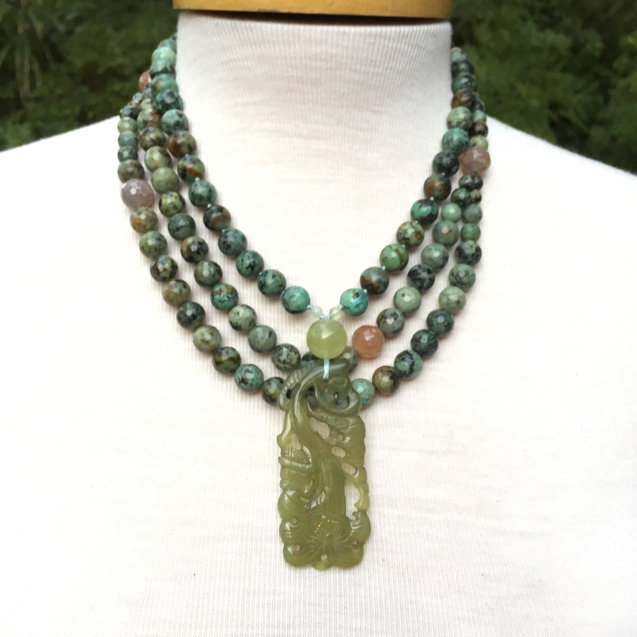 African Turquoise and Agate Necklace - Sunya Currie 26a2f0a847bb