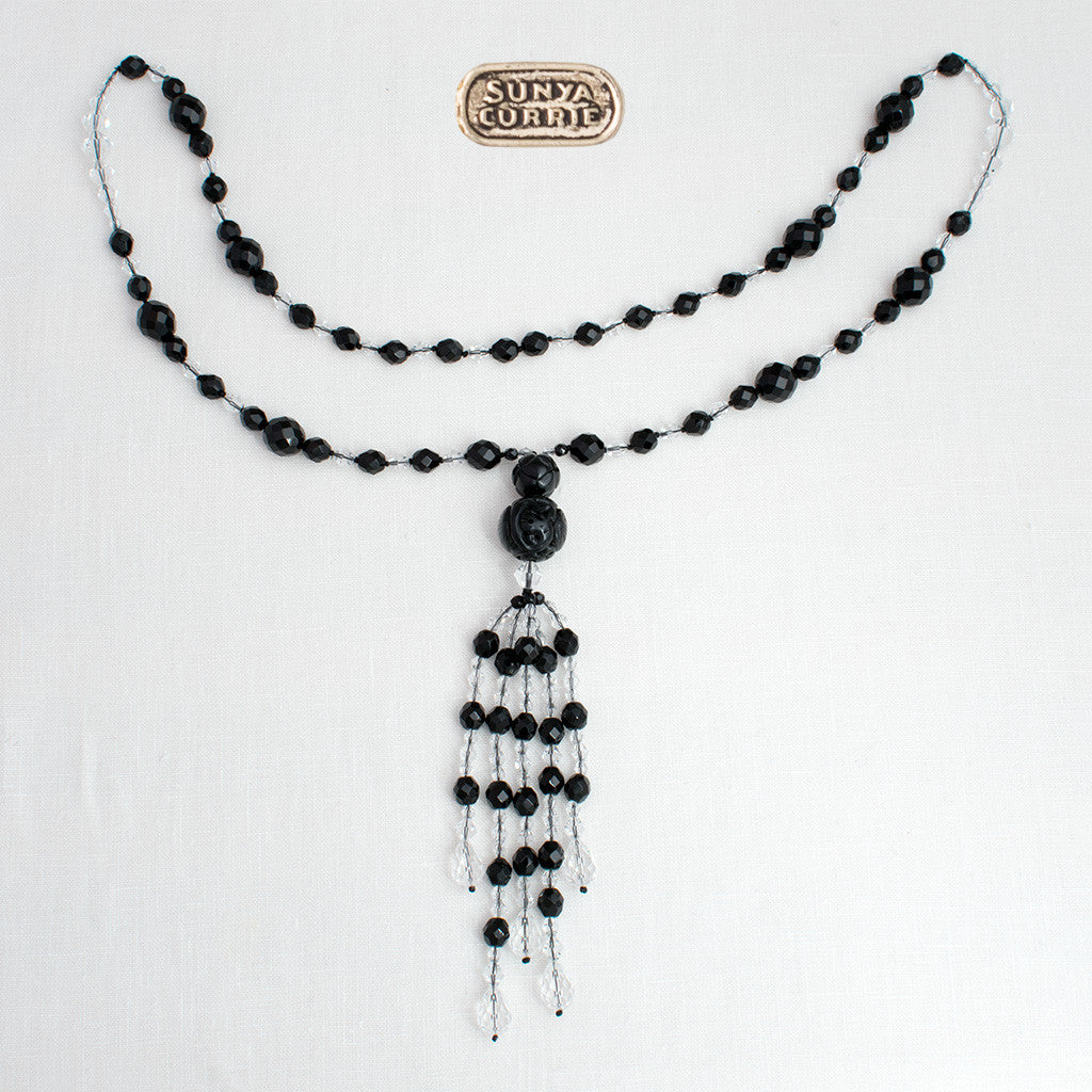 Crystal faceted jet necklace with carved pendant five strand jet and crystal tassel necklace aloadofball Images
