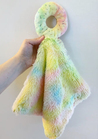 Rainbow Donut Lovey with Rainbow Shag Minky chickadee & hen