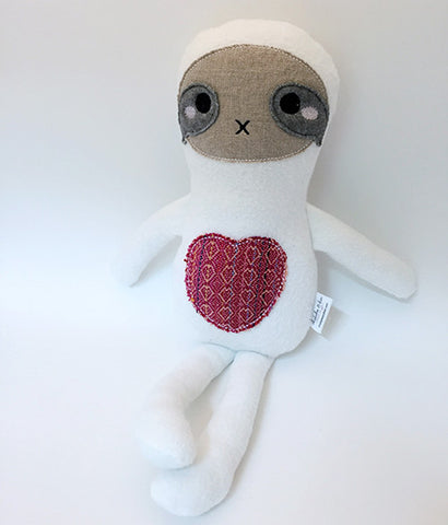 Large Snuggly Sloth Plush, White with Wrap Scrap, Natural + Organic chickadee & hen