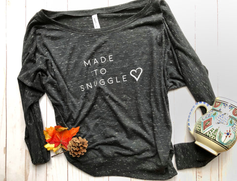 Made To Snuggle Womens Long Sleeve Off Shoulder Shirt