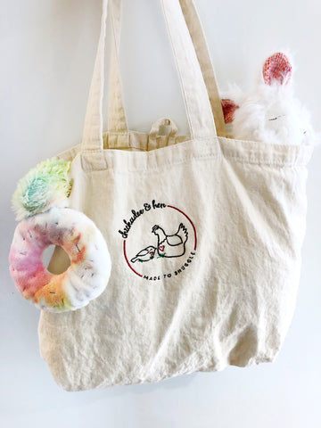 Organic Cotton Tote Bag chickadee & hen