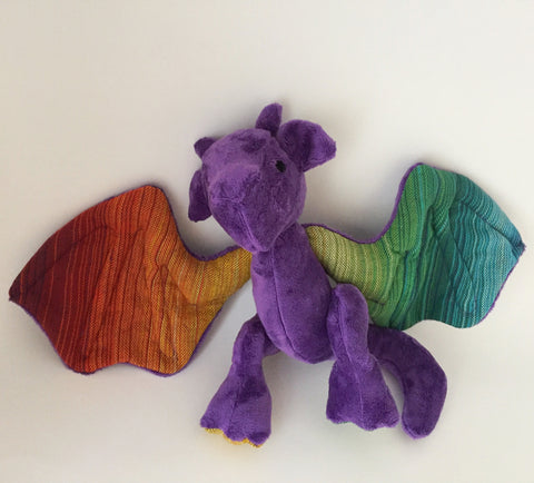 Pride the Dragon, made with Purple Minky and Rainbow Wrap Scrap chickadee & hen