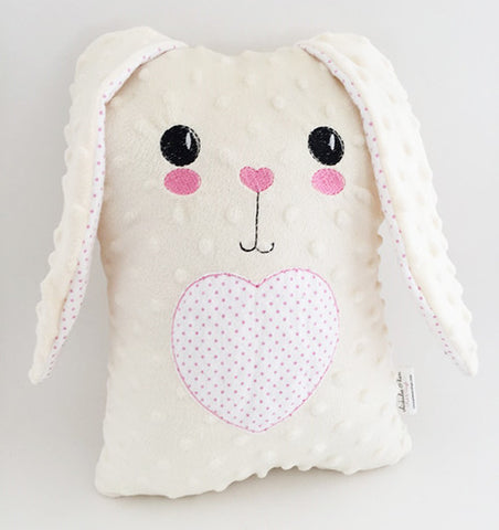 Bunny Plush Pillow with Minky and Flannel in pink chickadee & hen