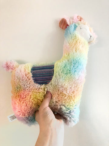 Rainbow Wrap Scrap Llama Plush chickadee & hen
