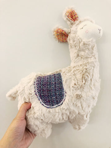 """Smile"" Wrap Scrap Llama Plush chickadee & hen"