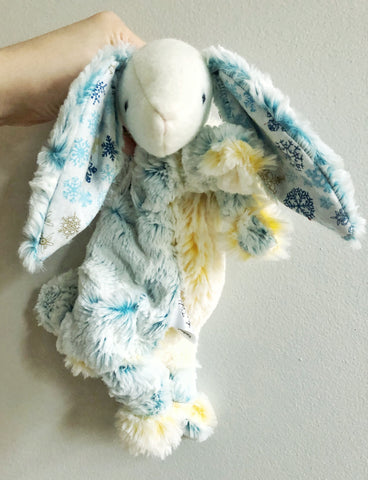 Snowflake Blue and Gold Bunny Lovey chickadee & hen