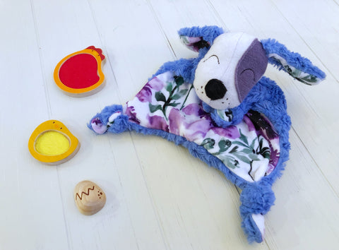 Blue and Purple Floral Puppy Lovey chickadee & hen