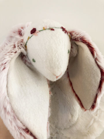 Strawberry Creme Bunny Lovey with Floral Crown chickadee & hen