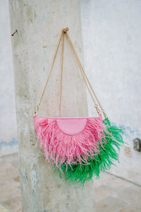 Feather Trim Leather Cross Body