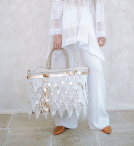 Crochet Lace Appliqué Straw Tote