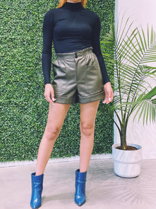 Olivia Paper Bag Waist Leather Shorts