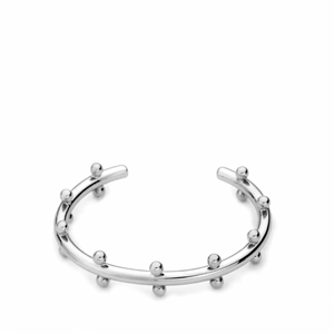 Chic Beaded Bangle Silver