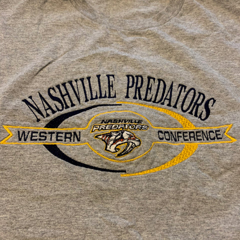 Vintage Nashville Predators Embroidered Tshirt Sz XL