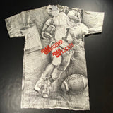 Vintage repro Waggner Wildcats All-Over Football Print Tee Sz XS