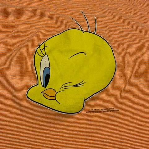 VTG Tweety Bird Striped Tshirt Sz L