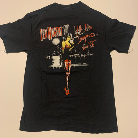 Vintage 1986 Ted Nugent Little Miss Dangeross Tour Tee Sz Small
