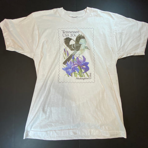 Vintage Mockingbird & Iris Tee Sz Medium
