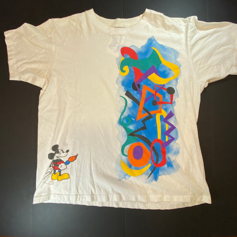 Vintage Mickey Paintbrush Tee Sz Large