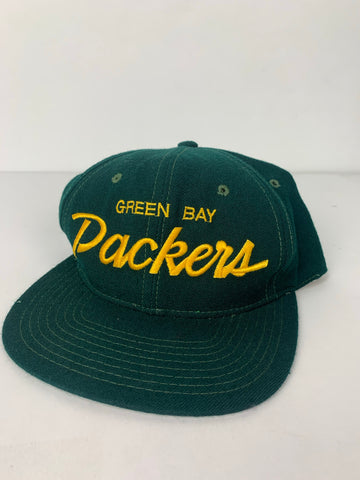 VTG Green Bay Packers Wool Script Snapback