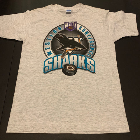 Vintage San Jose Sharks WCF Hockey Tshirt Sz Womens Medium