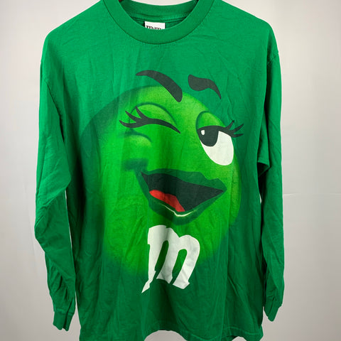 Vintage Green M&M Candy Lady Tshirt Sz Large