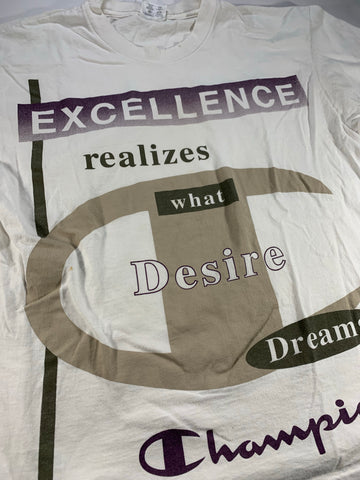 Vintage Champion Excellence realizes what desires dream tee size large